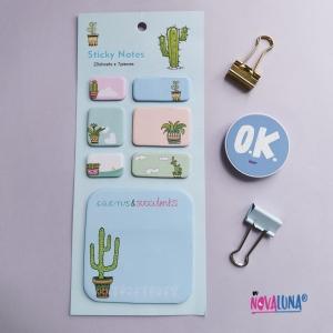 Notas adhesivas cactus cuadradas - BYNOVALUNA