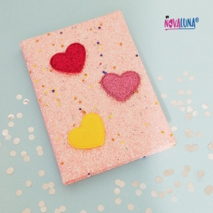 Cuaderno brillantina salmón - BYNOVALUNA